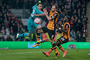 David Ospina (Arsenal), David Meyler (Hull City) and Adama Diomandé (Hull City) go for the ball in the penalty box during the The FA Cup fifth round match between Hull City and Arsenal at the KC Stadium, Kingston upon Hull, England on 8 March 2016. Photo by Mark P Doherty.
