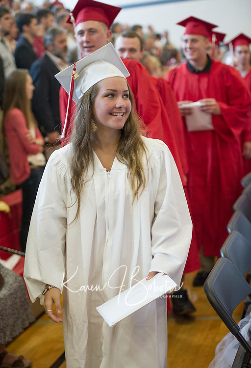 Lindsay Marie Polasko joins her fellow graduates during the procession at the conclusion of the 135th commencement for Laconia High School held at Laconia Middle School Saturday morning.  (Karen Bobotas/for the Laconia Daily Sun)