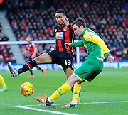 AFC Bournemouth midfielder Junior Stanislas and Norwich City midfielder Jonathan Howson during the Barclays Premier League match between Bournemouth and Norwich City at the Goldsands Stadium, Bournemouth, England on 16 January 2016. Photo by Graham Hunt.