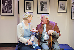 The American Clock <br /> by Arthur Miller<br /> directed by Phil Wilmott <br /> at The Finborough Theatre, London, Great Britain <br /> press photocall<br /> 27th March 2012 <br /> James Horne (as Grandpa Baum)<br /> Issy van Randwyck (as Rose Baum)<br /> Michael J Hayes (as Moe Baum)<br /> Michael Benz (as Lee Baum)<br /> <br /> Photograph by Elliott Franks