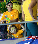 Australian fans at the Water polo, Australia v Montenegro..Yingdong Natatorium of National Olympic Sports Center 18-8-08   ..Photo: Grant Treeby/WSP