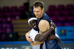 Pops Mensah-Bonsu and Andrew Betts of Great Britain at practice  in Arena Torwar a day before the beginning of the Eurobasket 2009, on September 06, 2009 in Warsaw, Poland. (Photo by Vid Ponikvar / Sportida)