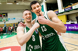 Domen Bratoz of Krka and Ziga Fifolt of Krka celebrate after winning during basketball match between KK Krka and KK Petrol Olimpija in 22nd Round of ABA League 2018/19, on March 17, 2019, in Arena Leon Stukelj, Novo mesto, Slovenia. Photo by Vid Ponikvar / Sportida