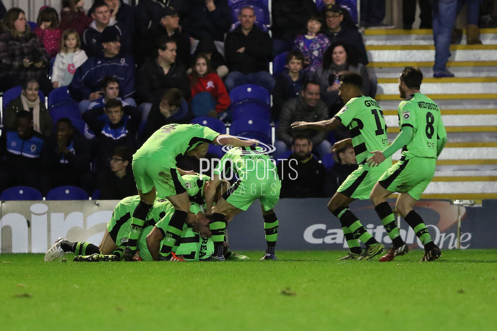 Forest Green Rovers, celebrate, Elliott Frear winner in the last few minutes during the The FA Cup match between AFC Wimbledon and Forest Green Rovers at the Cherry Red Records Stadium, Kingston, England on 7 November 2015. Photo by Stuart Butcher.