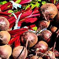 Beets with Stems and Roots at Farmers Market in Vancouver, Canada