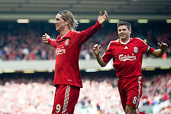 28.03.2010, Anfield, Liverpool, ENG, FA Premier League, Liverpool FC vs Sunderland FC, im Bild Liverpool's Fernando Torres celebrates scoring a spectacular opening goal during the Premiership match against Sunderland at Anfield. EXPA Pictures © 2010, PhotoCredit: EXPA/ Propaganda/ D. Rawcliffe / SPORTIDA PHOTO AGENCY