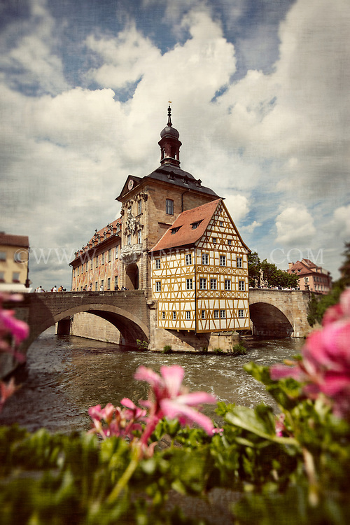 Old City Hall, Regnitz River, Bamberg, Germany.