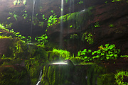Wall of mossy stones by a waterfall