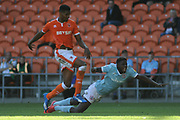 Blackpool Defender, Michael Nottingham (12) battles for possession  during the EFL Sky Bet League 1 match between Blackpool and Accrington Stanley at Bloomfield Road, Blackpool, England on 25 August 2018.