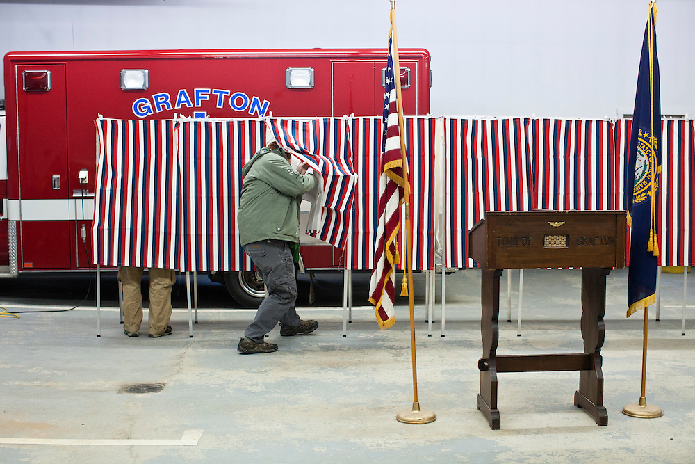 Voters enter voting booths to cast their ballots in the New Hampshire Primary at the Grafton Fire Station on Tuesday, January 10, 2012 in Grafton, NH. Brendan Hoffman for the New York Times