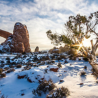 Sunrise at the South Window Arch in Arches National Park in Utah