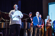 Flushing, NY - February 25, 2017. Some of the panel of judges at the 2017 Charcuterie Masters at Flushing Town Hall.