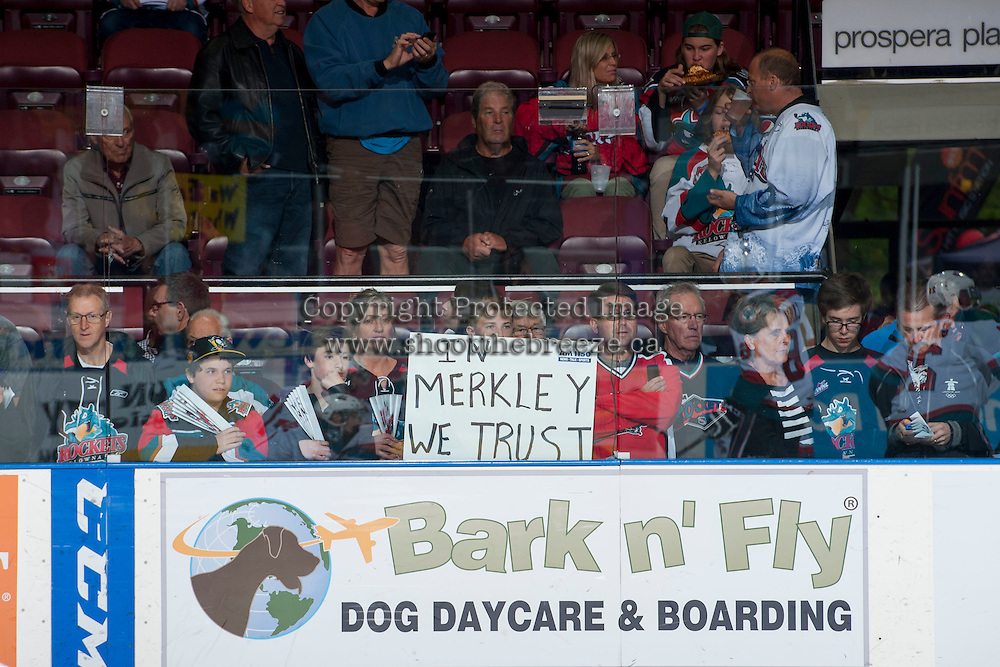KELOWNA, CANADA - MAY 13: Fans on May 13, 2015 during game 4 of the WHL final series at Prospera Place in Kelowna, British Columbia, Canada.  (Photo by Marissa Baecker/Shoot the Breeze)  *** Local Caption *** Nick Merkley;