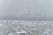 New York, the port of New York . Hudson river frozen and covered with ice