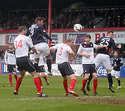 Peter MacDonald header which was cleared off the line - Dundee  v Falkirk - SPFL Championship at Dens Park<br /> <br />  - &copy; David Young - www.davidyoungphoto.co.uk - email: davidyoungphoto@gmail.com