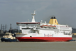 © Licensed to London News Pictures. 18/04/2013. File photo of Ostend Spirit arriving back at Tilbury in April 2013 after the failure of TransEuropa Ferries. A former cross channel ferry has left the UK to be sent for scrap in Turkey. Built in 1987 and known as the Pride of Calais, she was a popular vessel that took many passengers across the channel. She was chartered to TransEuropa Ferries for three years in Dec 2012 under the new name Ostend Spirit, but little more than three months later she was laid up at Tilbury with her future uncertain. Now, to the dismay of shipping enthusiasts, she has departed Tilbury and will be scrapped like her original sister ship Pride of Dover. She left Tilbury shortly after 8pm on Wed (30th). Credit : Rob Powell/LNP