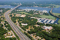 Aerial of marinas and bridges along Connecticut River at Old Saybrook, CT