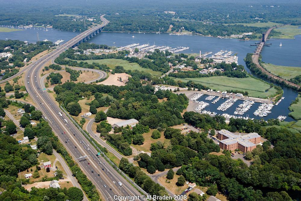 Aerial of marinas and bridges along Connecticut River at Old Saybrook, CT