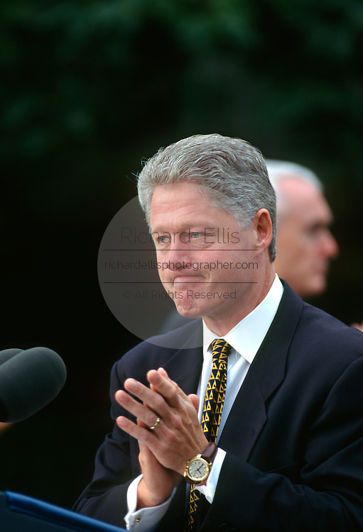 U.S. President Bill Clinton speaks bill during a ceremony to sign the Crime Bill on the South Lawn of the White House October 3, 1996 in Washington, DC.
