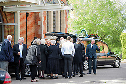 © Licensed to London News Pictures. 05/05/2017. London, UK. Family and friends attend the service. The funeral of Westminster Terror attack victim Leslie Rhodes takes place at North East Surrey Crematorium in Morden, South London. Leslie Rhodes, who was Winston Churchill's former window cleaner, suffered serious injuries when terrorist Khalid Masood mowed down and killed 4 pedestrians on Westminster Bridge before attacking and killing a police officer with a knife.  Photo credit: Ben Cawthra/LNP