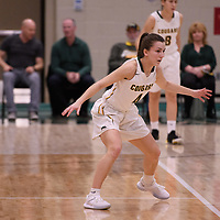 3rd year guard Avery Pearce (4) of the Regina Cougars in action during the Women's Basketball home game on January  19 at Centre for Kinesiology, Health and Sport. Credit: Arthur Ward/Arthur Images