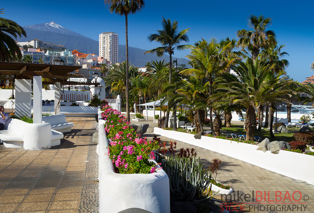 Promenade and Teide volcano from Puerto de la Cruz city. Tenerife, Canary Islands, Atlantic Ocean, Spain.
