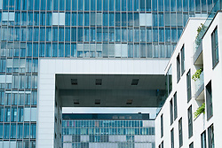 Modern commercial office building in Kranhaus or Cranehouse in Rheinauhafen property development in Cologne Germany