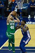 Boston Celtics Aron Baynes (46) during the NBA London Game match between Philadelphia 76ers and Boston Celtics at the O2 Arena, London, United Kingdom on 11 January 2018. Photo by Martin Cole.