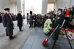 The Duke of Edinburgh and and Prince Laurent of Belgium  lay wreaths at the Menin Gate in Ypres, Belgium, at a ceremony on Armistice Day to mark the gathering of soil for the Flanders Fields Memorial Garden at the Guards Museum in London, Monday, 11th November 2013. Picture by Stephen Lock / i-Images