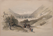 Entrance to Nablus 1839 Color lithograph by David Roberts (1796-1864). An engraving reprint by Louis Haghe was published in a the book 'The Holy Land, Syria, Idumea, Arabia, Egypt and Nubia. in 1855 by D. Appleton & Co., 346 & 348 Broadway in New York.