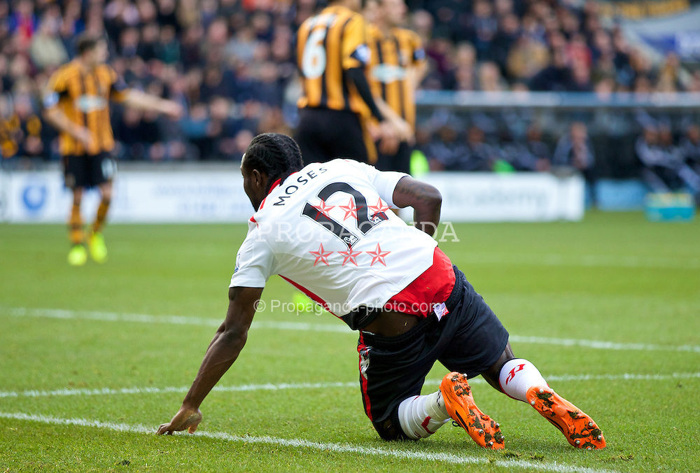 HULL, ENGLAND - Sunday, December 1, 2013: Liverpool's Victor Moses wearing red underpants in action against Hull City during the Premiership match at the KC Stadium. (Pic by David Rawcliffe/Propaganda)