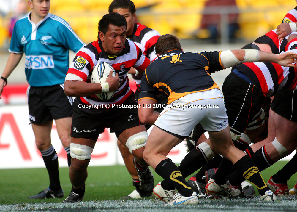 Counties-Manukau number eight Viliami Fihaki runs from the base of the scrum. ITM Cup - Wellington Lions v Counties-Manukau Steelers at Westpac Stadium, Wellington, New Zealand on Sunday, 8 August 2010. Photo: Dave Lintott/PHOTOSPORT