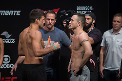October 27, 2017 - Sao Paulo, Sao Paulo, Brazil - Opponents DEMIAN MAIA of Brazil and COLBY COVINGTON of the United States face off during the UFC weigh-in event inside the Ibirapuera Gymnasium in Sao Paulo, Brazil. (Credit Image: © Paulo Lopes via ZUMA Wire)