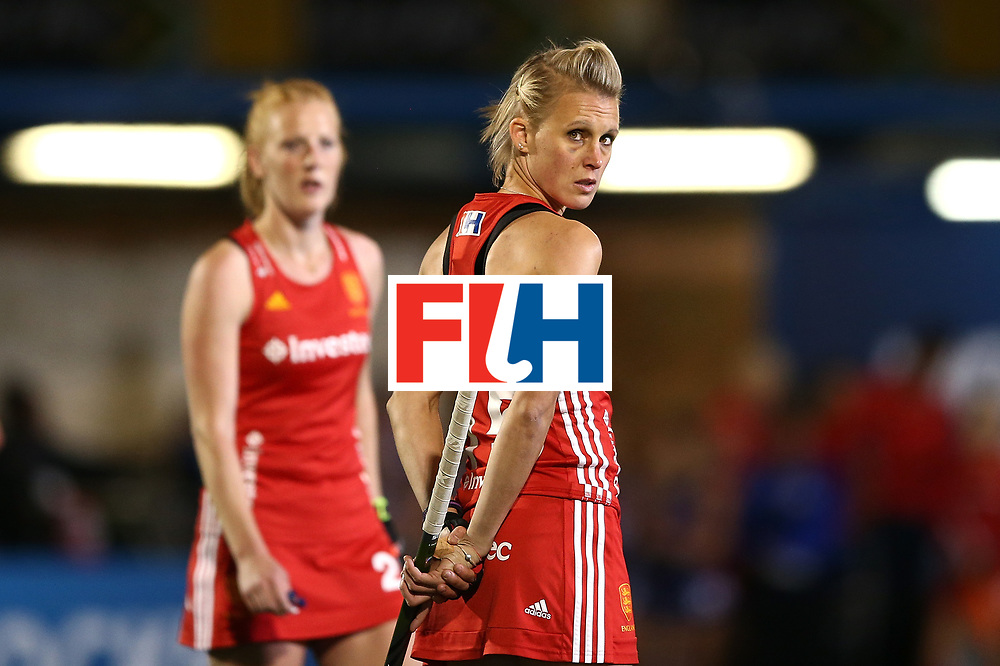 JOHANNESBURG, SOUTH AFRICA - JULY 20:  Alex Danson of England looks at the big screen during day 7 of the FIH Hockey World League Women's Semi Finals semi final match between England and United Staes of America at Wits University on July 20, 2017 in Johannesburg, South Africa.  (Photo by Jan Kruger/Getty Images for FIH)