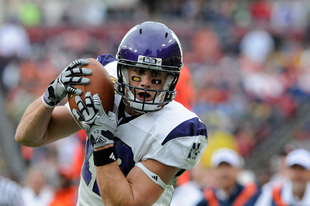 January 1, 2010: Andrew Brewer of the Northwestern Wildcats in action during the NCAA football game between the Northwestern Wildcats and the Auburn Tigers in the Outback Bowl. The Tigers defeated the Wildcats 38-35 in overtime.