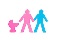 Two stick figures holding hands while standing besides a baby carriage over white background
