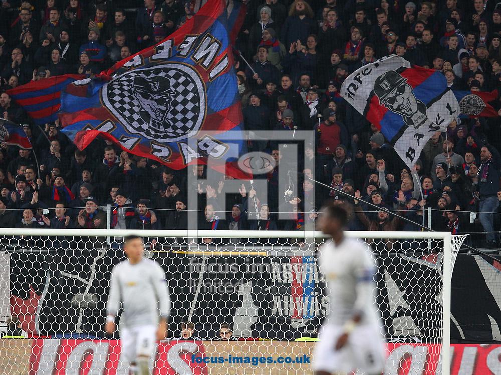 FC Basel fans during the UEFA Champions League match at St. Jakob-Park, Basel<br /> Picture by Yannis Halas/Focus Images Ltd +353 8725 82019<br /> 21/11/2017