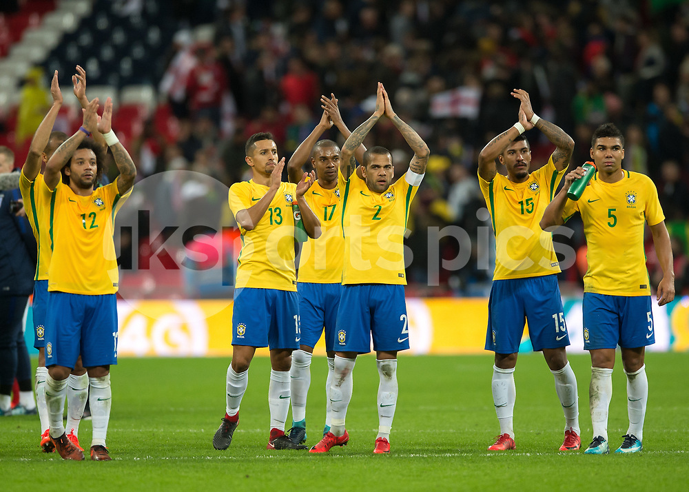 The Brazil players applaud the fans during the International Friendly match between England and Brazil at Wembley Stadium, London, England on 14 November 2017. Photo by Vince Mignott.