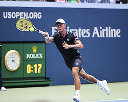 NEW YORK, Aug. 29, 2018  Marton Fucsovics of Hungary hits a return during the men's singles first round match against Novak Djokovic of Serbia at the 2018 US Open tennis championships in New York, the United States, Aug. 28, 2018. Djokovic won 3-1. (Credit Image: © Xinhua via ZUMA Wire)