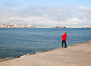 Man sea fishing Melilla autonomous city state Spanish territory in north Africa, Spain