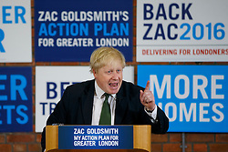 © Licensed to London News Pictures. 12/04/2016. London, UK. Current Mayor of London BORIS JOHNSON introduces Conservative's Mayor of London candidate ZAC GOLDSMITH at Zac's manifesto launch at Open Door Community Centre in Wimbledon on Tuesday, 12 April 2016. Photo credit: London News Pictures
