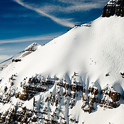 Hadley Hammer skis the East Face of No Name peak in the Teton backcountry.