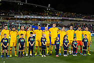 CANBERRA, AUSTRALIA - OCTOBER 10: The Australian team during the national anthem at the FIFA World Cup Qualifier soccer match between Australia and Nepal on October 10, 2019 at GIO Stadium in Canberra, Australia. (Photo by Speed Media/Icon Sportswire)