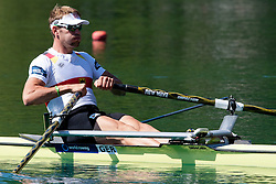 02.09.2011, See, Bled, SLO, World Rowing Champioships Bled 2011, im Bild Marcel Hacker of Germany during Men's Single Sculls at Rowing World Championships Bled 2011 on September 3, 2011, in Bled, Slovenia, EXPA Pictures © 2011, PhotoCredit: EXPA/ Sportida/ M. Klansek Velej *** ATTENTION *** SLOVENIA OUT!