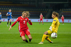 BARYSAW, BELARUS - Tuesday, October 8, 2019: Wales' Kayleigh Green (L) and Belarus' goalkeeper Nataliya Voskobovich during the UEFA Women's Euro 2021 Qualifying Group C match between Belarus and Wales at the Borisov Stadium. (Pic by Kunjan Malde/Propaganda)