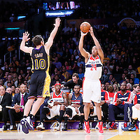 21 March 2014: Washington Wizards guard Andre Miller (24) takes a jump shot over Los Angeles Lakers guard Steve Nash (10) during the Washington Wizards 117-107 victory over the Los Angeles Lakers at the Staples Center, Los Angeles, California, USA.