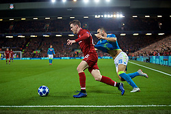LIVERPOOL, ENGLAND - Tuesday, December 11, 2018: Liverpool's Andy Robertson (L) and Napoli's Nikola Maksimović during the UEFA Champions League Group C match between Liverpool FC and SSC Napoli at Anfield. (Pic by David Rawcliffe/Propaganda)