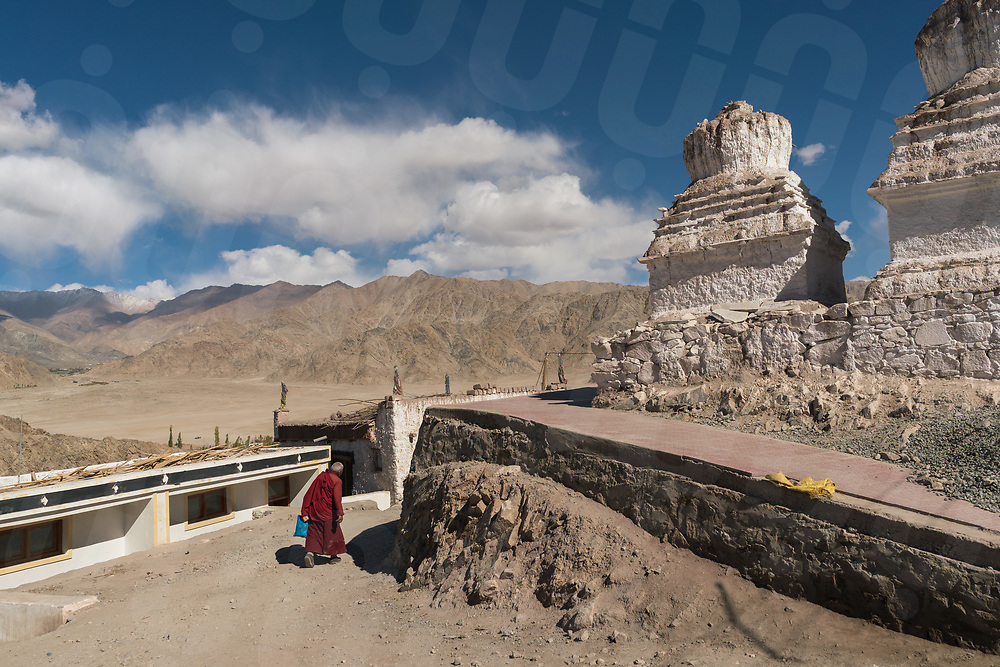 October 11 - 2016 - Leh, Ladakh (India). A monk walks pass a stupa outside Stakna Monastery. © Thomas Cristofoletti / Ruom