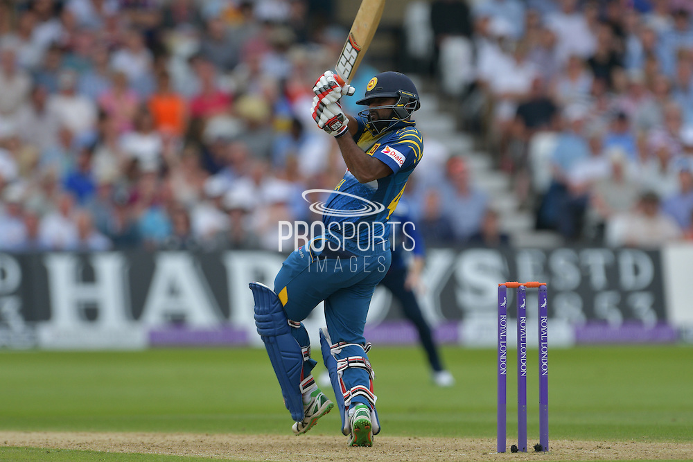 Seekkuge Prasanna of Sri Lanka pulls Liam Plunkett of England (not shown) for a six *** during the Royal London ODI match between England and Sri Lanka at Trent Bridge, West Bridgford, United Kingdom on 21 June 2016. Photo by Simon Trafford.
