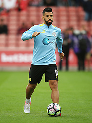 Sergio Aguero of Manchester City warms up - Mandatory by-line: Matt McNulty/JMP - 20/08/2016 - FOOTBALL - Bet365 Stadium - Stoke-on-Trent, England - Stoke City v Manchester City - Premier League